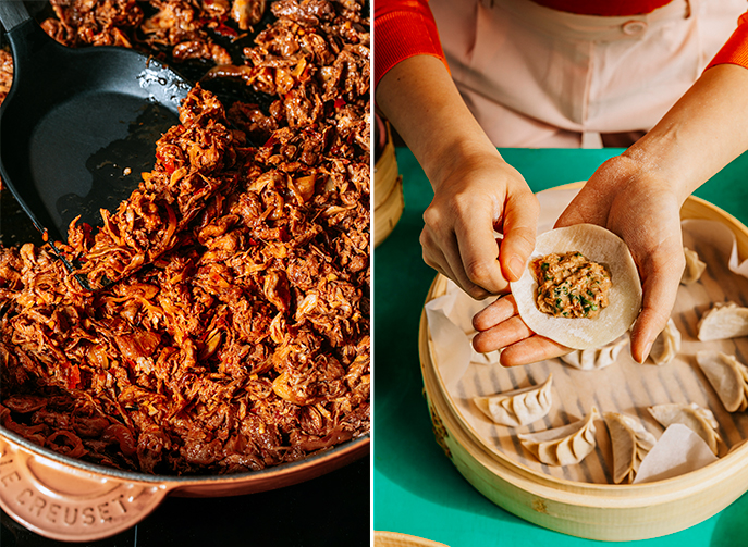 Karana's meat shreds (left) and meat mince (right) can be used in a variety of cuisines. The start-up has also partnered with restaurants in Singapore and Hong Kong to develop new dishes, and have plans to enter more markets and venture into retail.